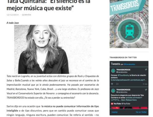 """Tata Quintana: """"El silencio es la mejor música que existe"""". 2014"""