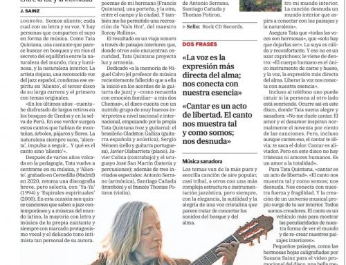 'Aliento', el primer disco con temas propios de la cantante de jazz riojana, busca el equilibrio entre el paisaje y el espíritu, entre la luz y la intimidad